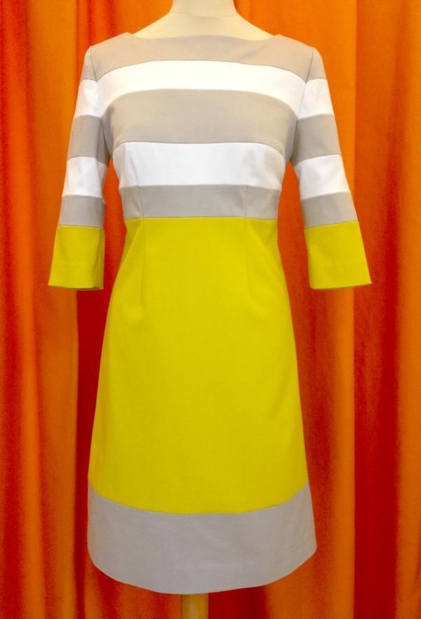 Kleid Streif grau gelb weiss MDModedesign
