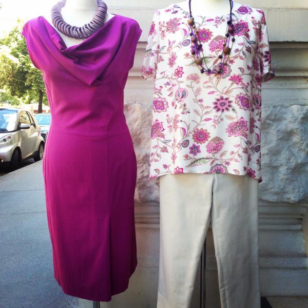 Kleid zyklame Bluse Blumendesign Hose beige MDModedesign